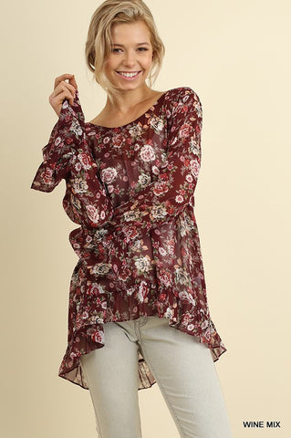Floral Print Ruffled Top with a Back Drawstring Keyhole
