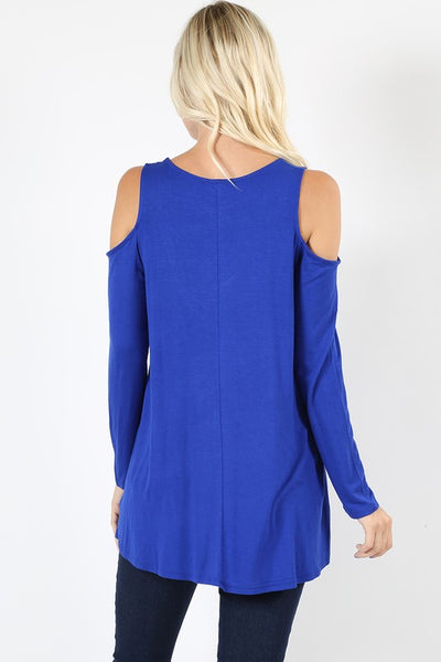 Plus Size Cold Shoulder V Neck Top