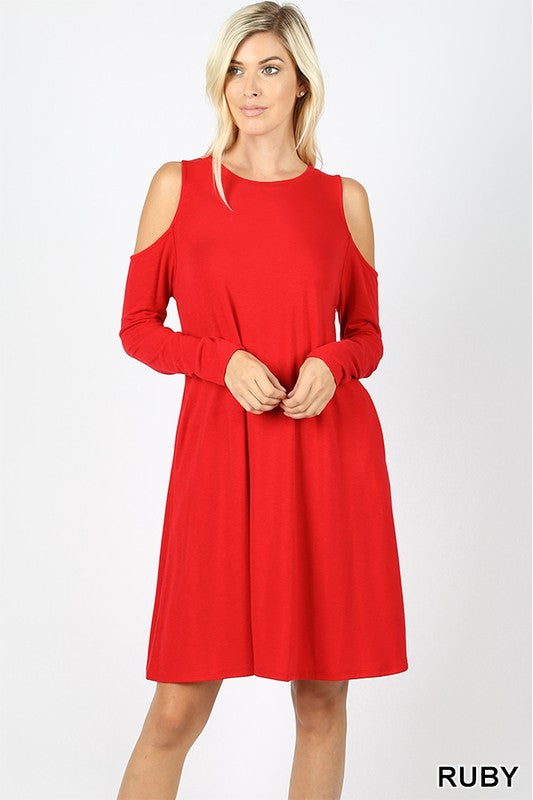 Cold Shoulder Dress with Pockets
