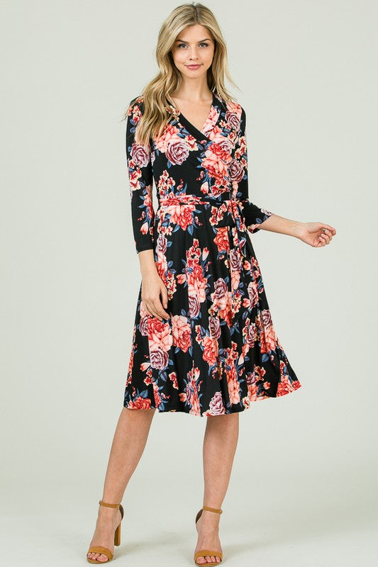Floral Wrap Dress with Belt