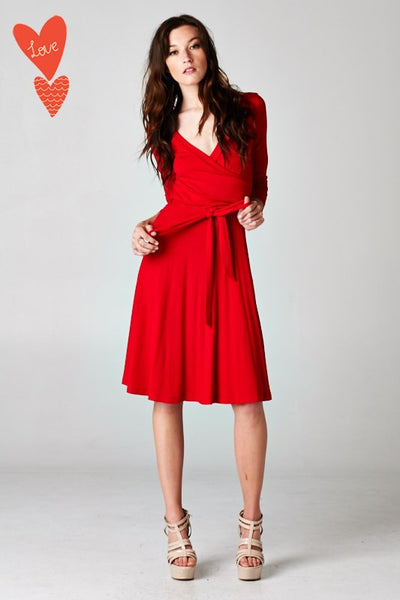 Solid short wrap dress
