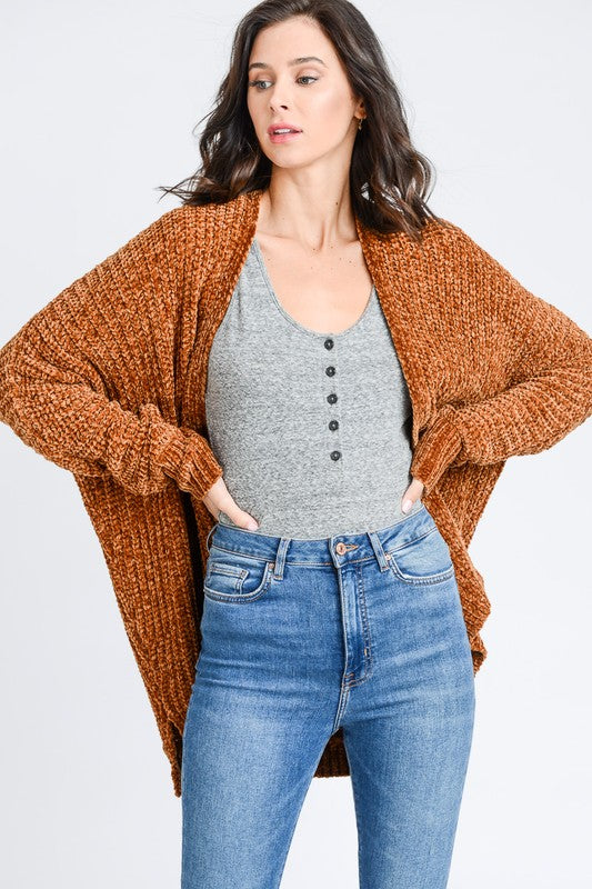 Chenille Soft Textured Long Cardigan