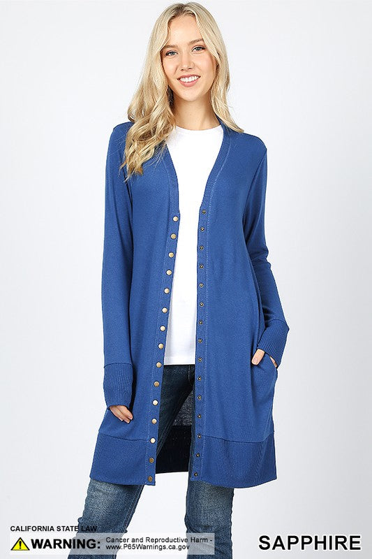 Thigh Length Snap Front Cardigan