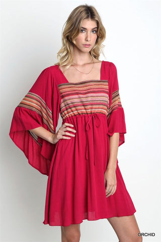 Bell Sleeve Dress with Stripe Detail