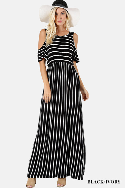 Striped Cold Shoulder Maxi Dress With Elastic Waist