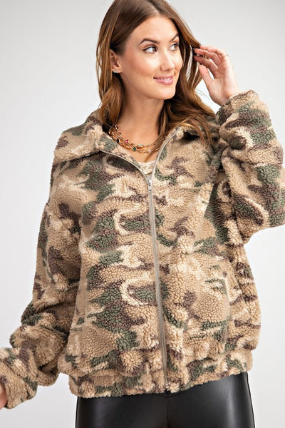 Teddy Bear Patterned Camo Jacket