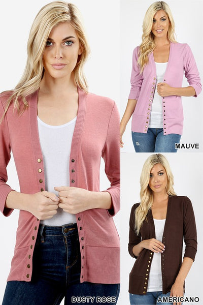 Snap Button Solid Sweater Cardigan 3/4 Sleeve