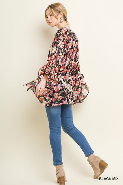 Sheer Floral Kimono with Tie Front