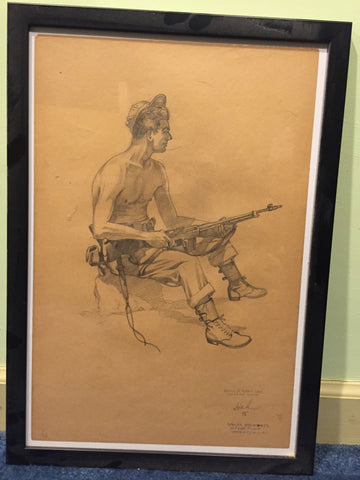 Real art! 1945 pencil sketch by Herbet C Hahn from the battle of Okinawa. Named!