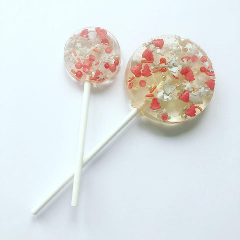 Red and Silver Festive Sprinkle Lollipop
