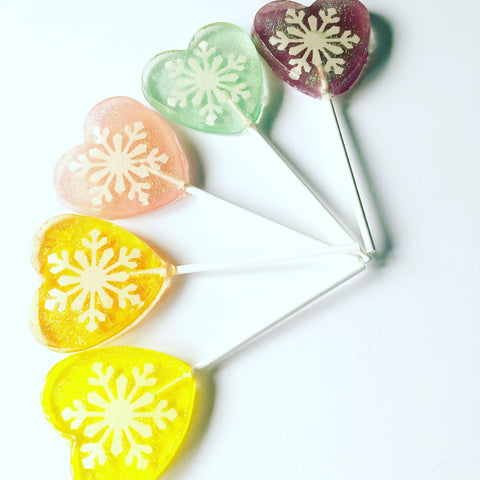 Rainbow Snowflake heart lollipops