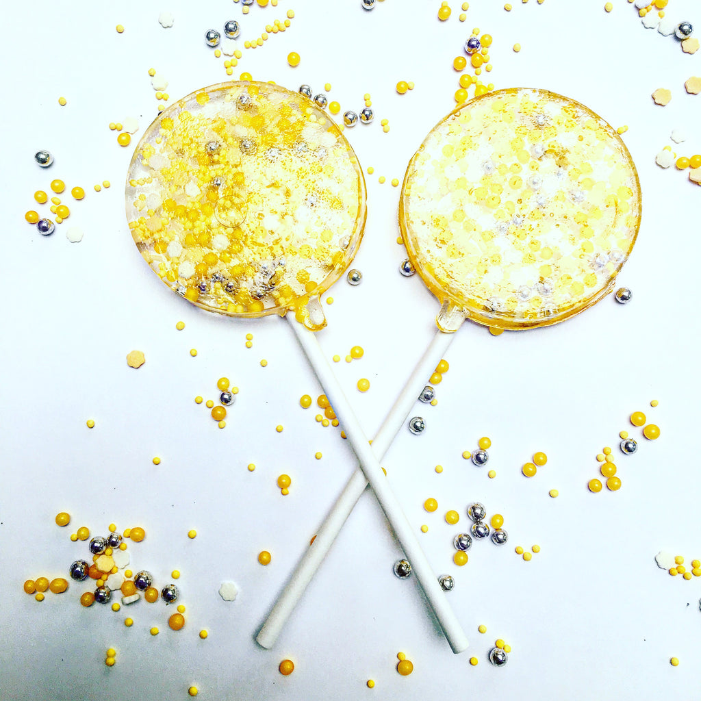 Yellow & Silver Sprinkle Lollipops