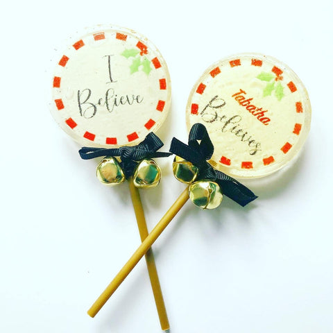 I Believe personalised lollipops