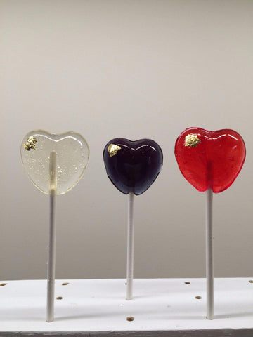24K Gold Heart Lollipops
