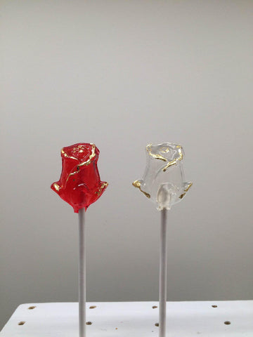 24k Gold  Red Rose Lollipop
