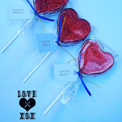 Red glitter lollipops