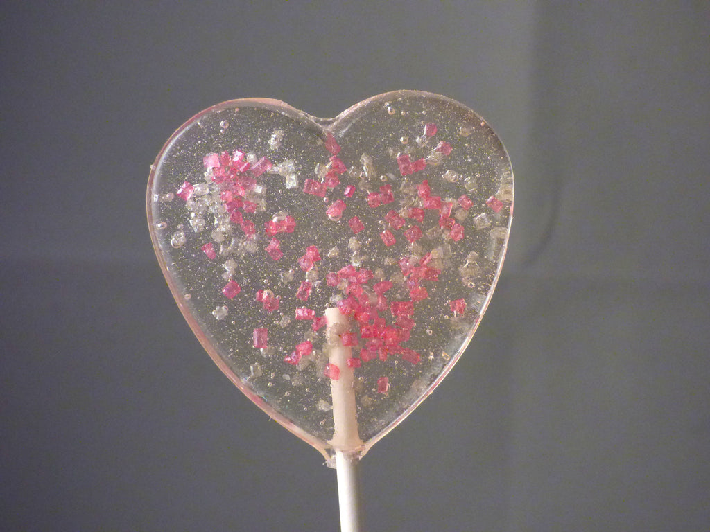 Pink and silver sugar lollipops