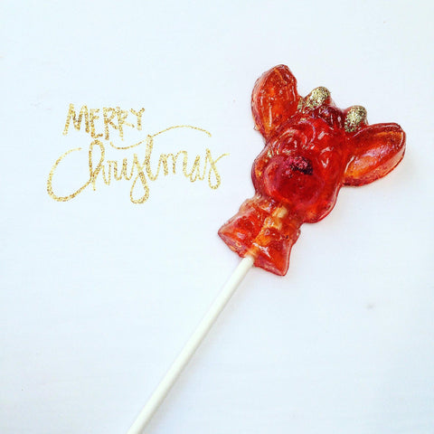 A Glittery Little Rudolph Lollipop