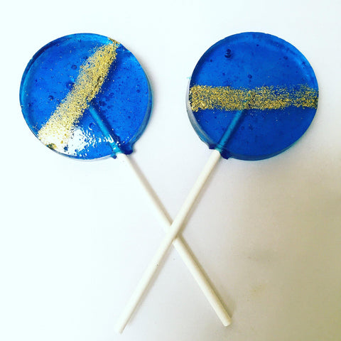 Blue glitter stripe lollipops