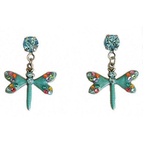 Anne Koplik Aqua Dragonfly Multi-Color Crystal Post Earrings - Belle Fleur Boutique