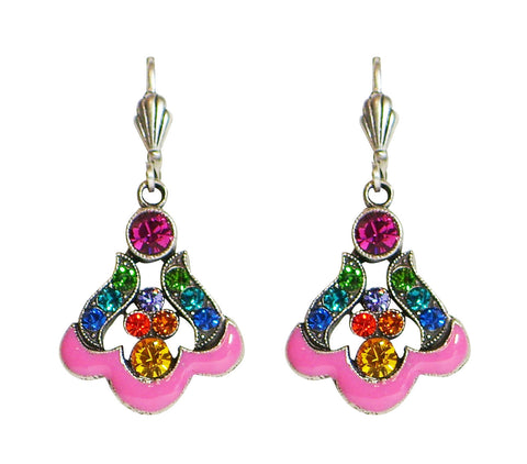 Anne Koplik Art Nouveau Multi-Color and Bright Pink Leverback Drop Earrings - Belle Fleur Boutique