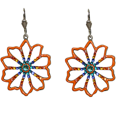 Anne Koplik Tangerine Flower Art Nouveau-Style Leverback Earrings - Belle Fleur Boutique