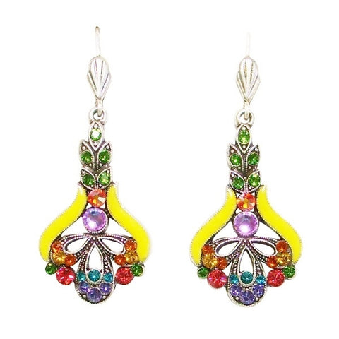 Anne Koplik Art Nouveau Multi-Color and Bright Yellow Leverback Drop Earrings - Belle Fleur Boutique