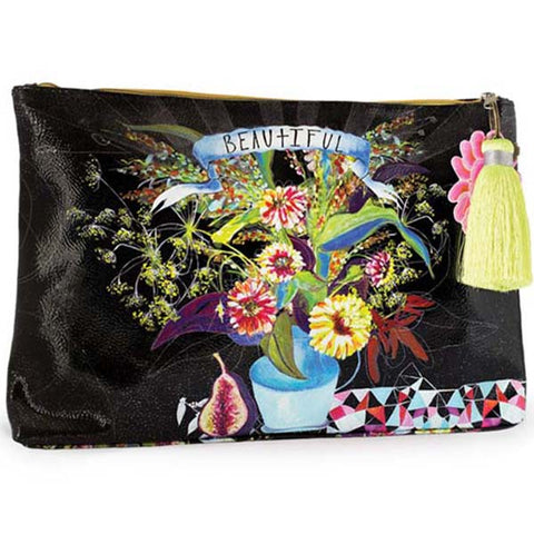 PAPAYA! Art Beautiful Floral Large Tassel Accessory Pouch Purse - Belle Fleur Boutique