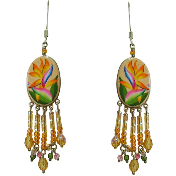 Wanderlust Bird of Paradise Tropical Flower Pierced Earrings ~Handmade in Peru~ - Belle Fleur Boutique