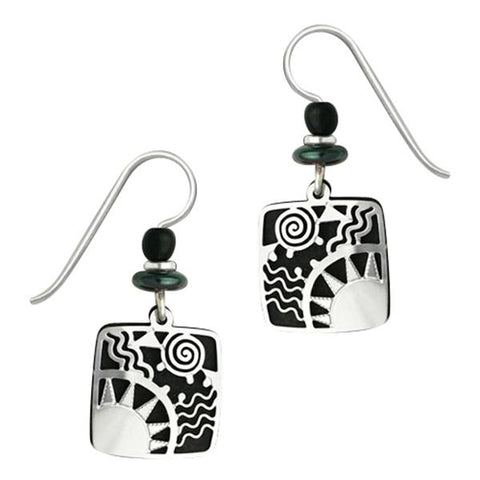 Adajio Black Square with Silver Sunrise Overlay Pierced Earrings - Belle Fleur Boutique