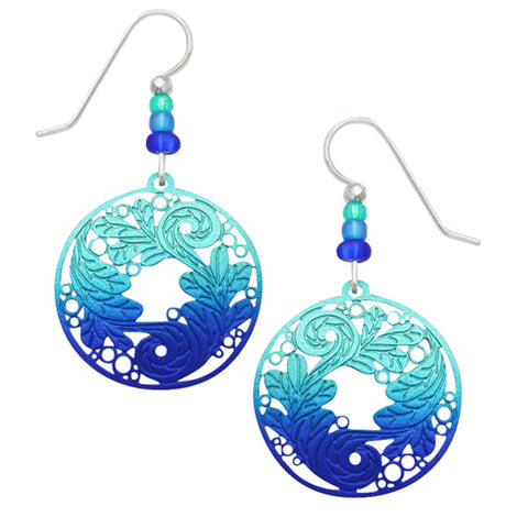 Adajio Blue & Green Disc with Etched Leaves Design Pierced Earrings - Belle Fleur Boutique