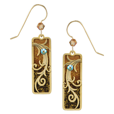 Adajio Golden Brown Ombre Column w/Etched Tendrils Overlay Pierced Earrings - Belle Fleur Boutique
