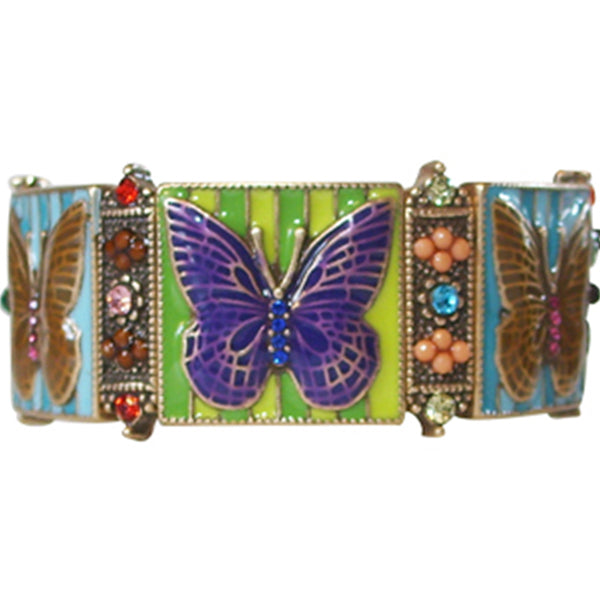 Butterfly Mosaic Stretch Bracelet in Multi-Colors by Rain Jewelry Collection - Belle Fleur Boutique