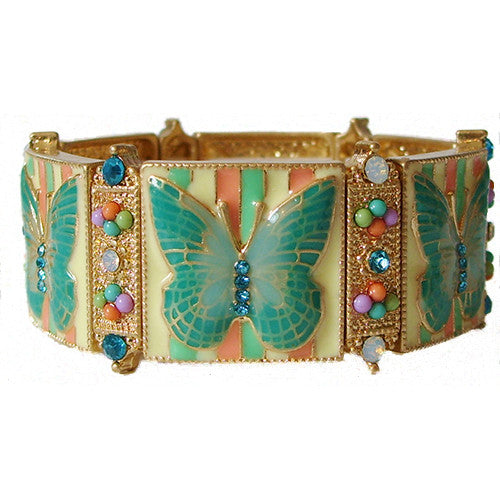 Butterfly Mosaic Stretch Bracelet in Teal and Yellow by Rain Jewelry Collection - Belle Fleur Boutique