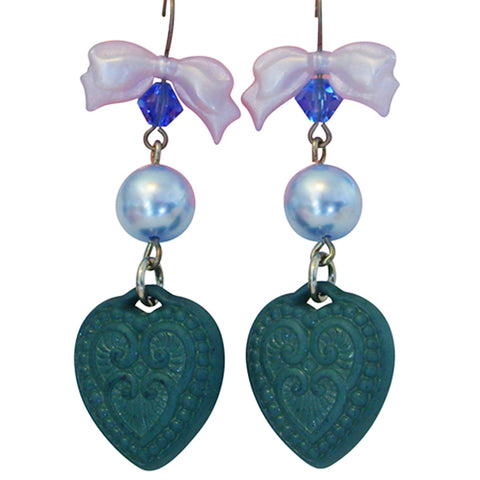 Tarina Tarantino Candy Cameo Lucite Heart Pierced Earrings (Blue) - Belle Fleur Boutique