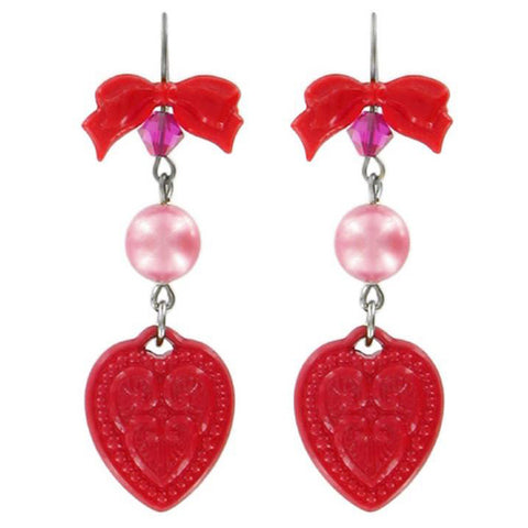 Tarina Tarantino Candy Cameo Lucite Heart Pierced Earrings (Red) - Belle Fleur Boutique