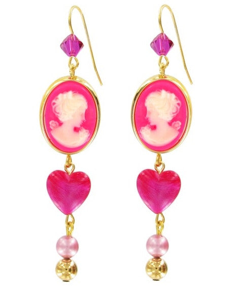 Tarina Tarantino Candy Cameo Drop Pierced Earrings (Pink) - Belle Fleur Boutique