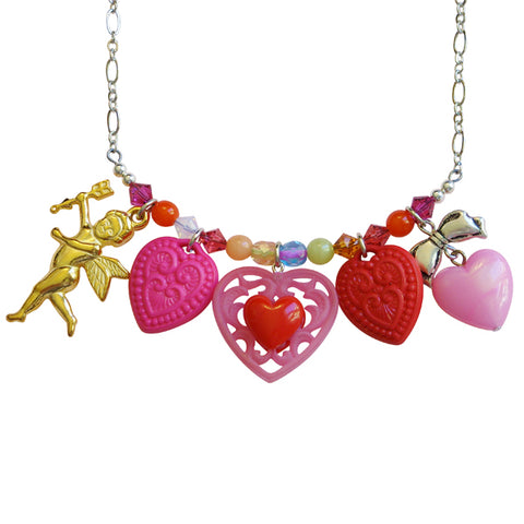 Tarina Tarantino Candy Cupid Charm Necklace (Pink and Red) - Belle Fleur Boutique