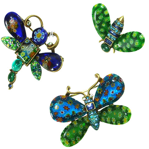 Sweet Romance Candy Glass Butterfly, Dragonfly, Bee Insect Pins (Set of 3) - Belle Fleur Boutique