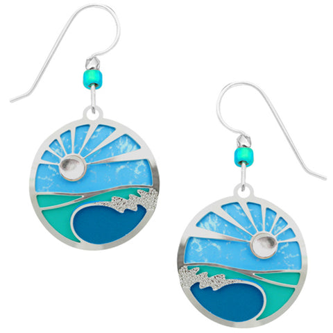 Adajio Caribbean Blues Disc with Sunrise Overlay Pierced Earrings ~Made in Colorado~ - Belle Fleur Boutique