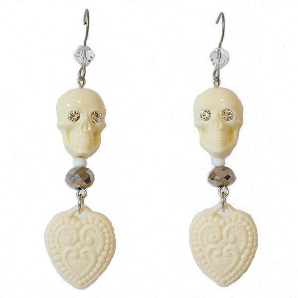 "Tarina Tarantino Happy Together ""Caterina"" Sugar Skull Drop Earrings (Ivory) - Belle Fleur Boutique"