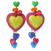 "Tarina Tarantino Candy Hearts ""Charm Me"" Kaleidoscope Post Earrings (3-1/4"" Long) - Belle Fleur Boutique"