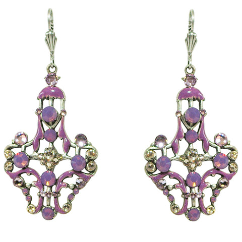 Anne Koplik Cyclamen Opal & Amethyst Crystals & Purple Enamel Leverback Earrings - Belle Fleur Boutique