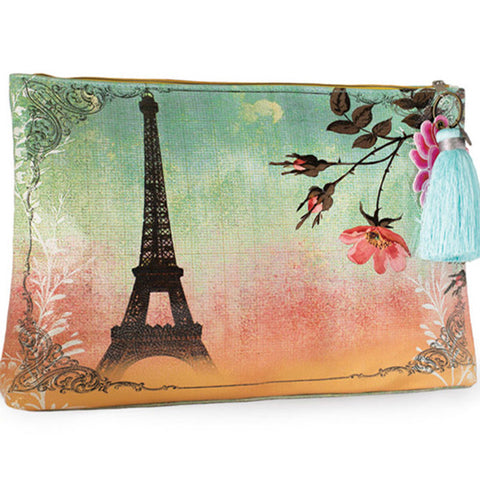 PAPAYA! Art Eiffel Tower Large Tassel Accessory Pouch Purse - Belle Fleur Boutique