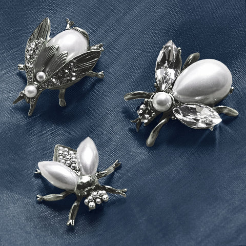 Sweet Romance Exotic Bees Scatter Pins Set of 3 ~Glass Pearly Girls Silvertone~ - Belle Fleur Boutique