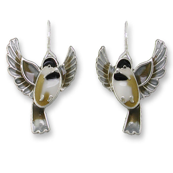 Zarah Zarlite Flying Chickadee Bird Pierced Earrings - Belle Fleur Boutique