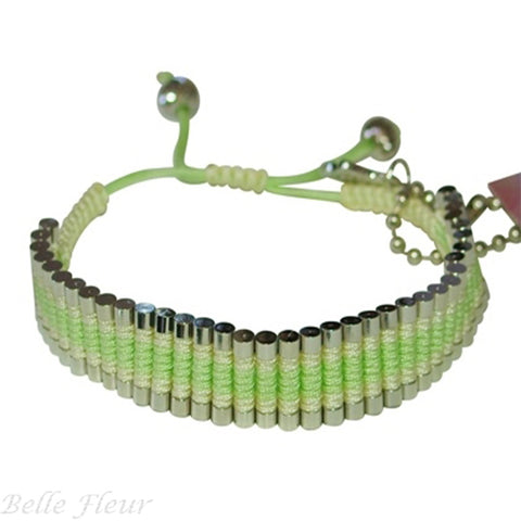 "Rose Gonzales ""Tori"" Fresh Collection Woven Bracelet in Mint Green and Yellow - Belle Fleur Boutique"