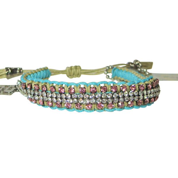 "Rose Gonzales ""Vanessa"" Graffiti Collection Woven Bracelet in Blue, Mocha, & Pink - Belle Fleur Boutique"