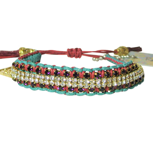 "Rose Gonzales ""Vanessa"" Graffiti Collection Woven Bracelet in Teal & Auburn - Belle Fleur Boutique"