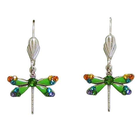 Anne Koplik Lime Green Enamel Petite Dragonfly Leverback Earrings - Belle Fleur Boutique